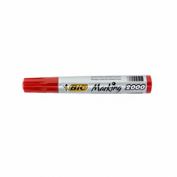 Перманентен маркер Bic 2000 объл връх червен