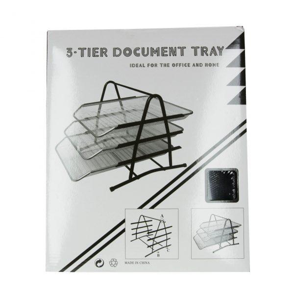 Хоризонтална поставка за хартия метална с 3 нива
