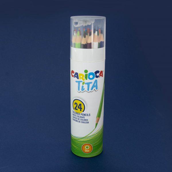 Цветни моливи Carioca Tita в цилиндър 24 цв.