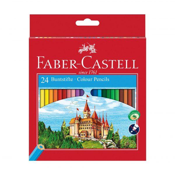 Моливи 24 цвята дълги + острилка Faber Castell