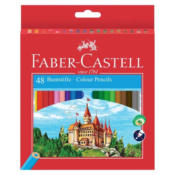 Моливи 48 цвята дълги + острилка Faber Castell