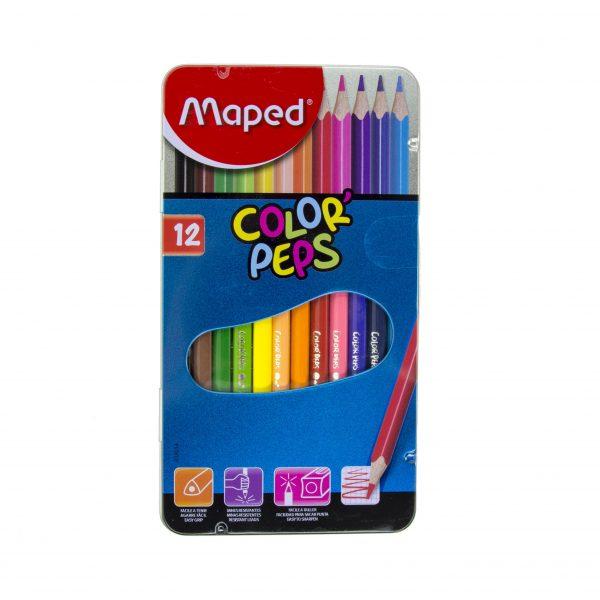Цветни моливи 12 цвята Maped метална кутия