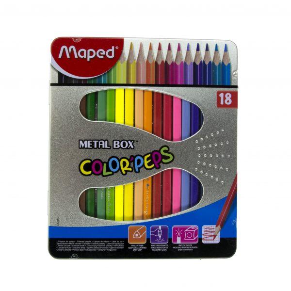 Цветни моливи 18 цвята Maped метална кутия