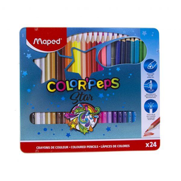 Цветни моливи 24 цвята Maped метална кутия