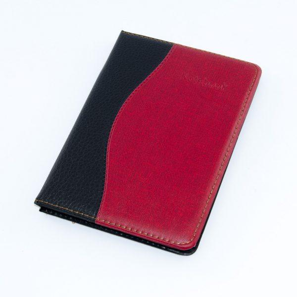 Тефтер 13/18 см кожа черен/червен Арго