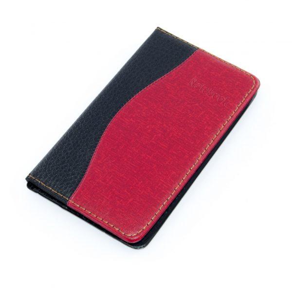 Тефтер 9/15 см кожа черен/червен Арго